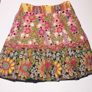 Cabi Colorful Floral Cotton Pleated Skirt